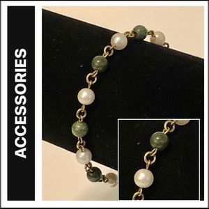 Faux Pearl, Jadeite and Gold-plated Bracelet